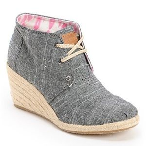 Toms Chambray Desert Wedges
